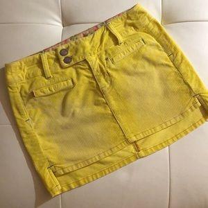 Betsey Johnson corduroy yellow rhinestone 27 skirt